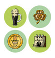saint patricks day round icons vector image