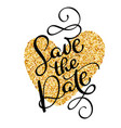 save the date text calligraphy on a background of vector image vector image