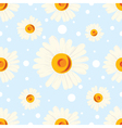 Seamless chamomile pattern on blue background vector image vector image