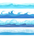 seamless water waves liquid and ice surface ocean vector image vector image