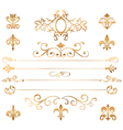 Set of golden patterns and vignette vector image vector image