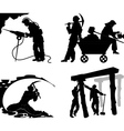 Silhouettes of of the miners vector image vector image