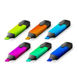Six colorful markers vector image