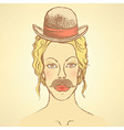 Sketch cute woman with hat and mustache vector image vector image