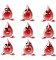 Smilies drop of blood different moods vector image vector image