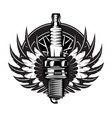 spark plug with wings vintage moto emblem vector image