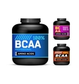 Sport Nutrition Containers Branched-Chain Amino vector image
