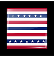 Stars and Stripes Flag Glossy Icon Square Shape vector image