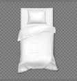 white single white bed for one person sleep vector image vector image
