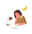 young girl sleeping slumbering or dozing while vector image