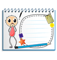 A notebook with an image of a young boy vector image