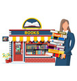 bookstore shop exterior and woman vector image