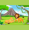cartoon lion family in jungle vector image vector image