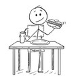 cartoon of man eating hotdog and drinking cola or vector image