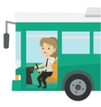 Caucasian bus driver sitting at steering wheel vector image vector image