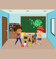 children playing in classroom vector image