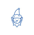 christmas elf line icon concept christmas elf vector image