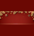 christmas frame with fir tree red background vector image vector image