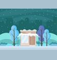coffee shop in a city winter season vector image vector image