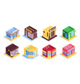 colourful shops isometric set vector image vector image