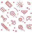 creative pattern flat line doodle style objects vector image