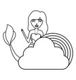 cute fairytale mermaid with clouds and rainbow vector image