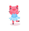 cute happy pig character in a blue dress funny vector image vector image