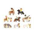 cute little children riding ponies and taking care vector image