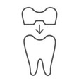 dental crown thin line icon teeth and dentistry vector image vector image