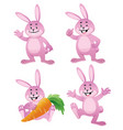 easter bunny cartoon set vector image