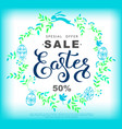 easter sale banner with wreath made of blue vector image vector image