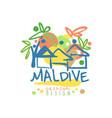 exotic island summer vacation maldive travel logo vector image vector image