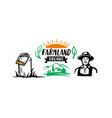 farmer and milk can with text rustic theme vector image vector image