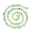 floral spiral background sketch for your design vector image vector image