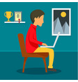 freelancer boy at home concept background flat vector image vector image
