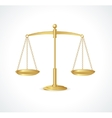 Gold justice scales isolated on white vector image