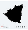 High detailed map of Nicaragua with navigation vector image