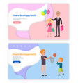 how to be happy family web pages set online site vector image