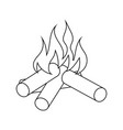 icon of camping fire vector image vector image