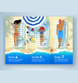 leaflet design with family lying on beach vector image vector image