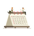 micro businesmen sitting on a giant paper calendar vector image