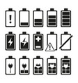 monochrome pictures of smartphone battery in vector image
