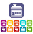 one-storey house icons set vector image vector image