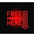 Parking sign neon light night over dark arrow vector image
