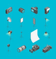 photo studio equipment signs 3d icons set vector image vector image