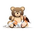 pretty girl has fun with teddy bear vector image