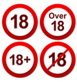 red age restriction signs over 18 signs vector image