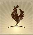 rooster symbol on retro background vector image vector image