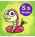 S Snake color cartoon and alphabet for children to vector image vector image