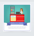saleswoman selling popcorn people in cinema vector image vector image
